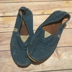 Toms Teal Corduroy Slip On Shoes
